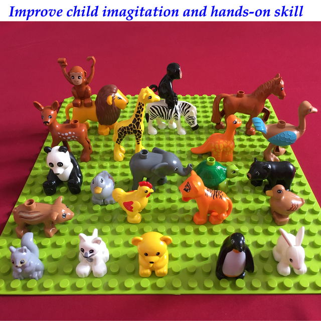 20pcs best gifts improve kids memory building blocks animal zoo children DIY baby toys fit for legos Duplo