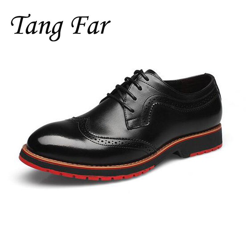 Men Oxfords Genuine Leather Mens Breathable Brogue Casual Shoes Punk Business Flats Blue Black Brown Free Shipping top quality crocodile grain black oxfords mens dress shoes genuine leather business shoes mens formal wedding shoes