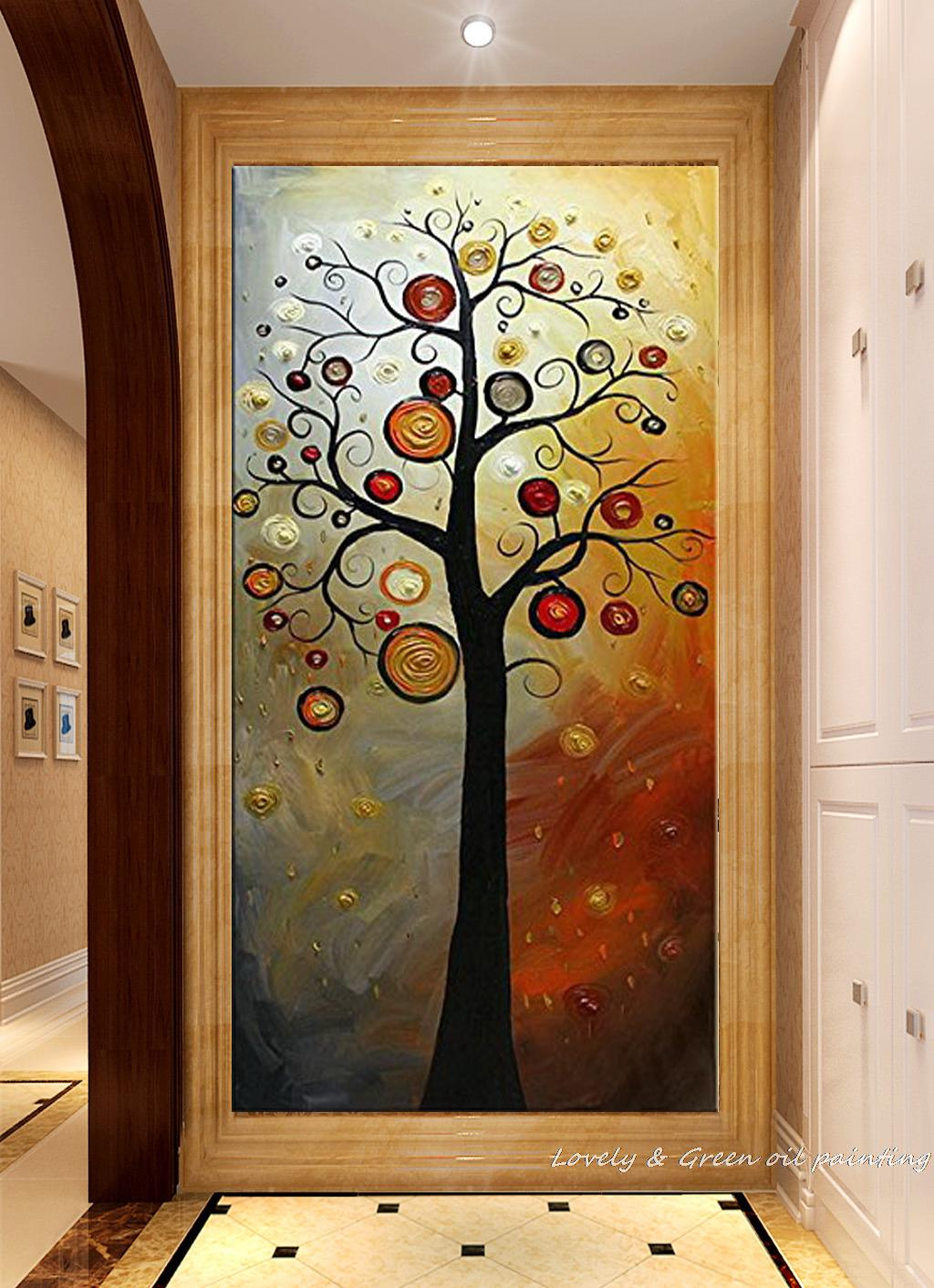 Us 27 9 38 Off Pure Hand Painted Abstract Money Tree Oil Painting On Canvas Wall Art Sets Modern Abstract Pictures On The Wall For Living Room In