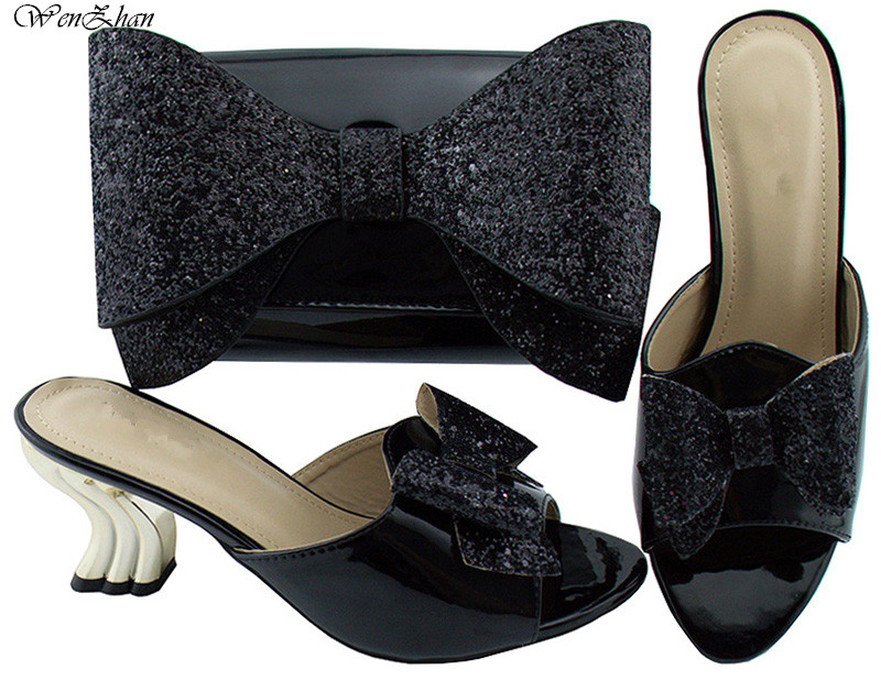 Newest italian shoes match bag sets nigerian shoes pump Strong Heel And Clutch Bag With Black shining paillette bow tie B85-15Newest italian shoes match bag sets nigerian shoes pump Strong Heel And Clutch Bag With Black shining paillette bow tie B85-15
