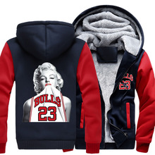 New Winter Jackets and Coats Marilyn Monroe hoodie Anime 23 Hooded Thick Zipper Men women Sweatshirts