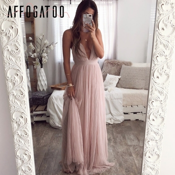 Affogatoo Sexy deep v neck backless summer pink dress women Elegant lace evening maxi dress Holiday long party dress ladies 2019 1