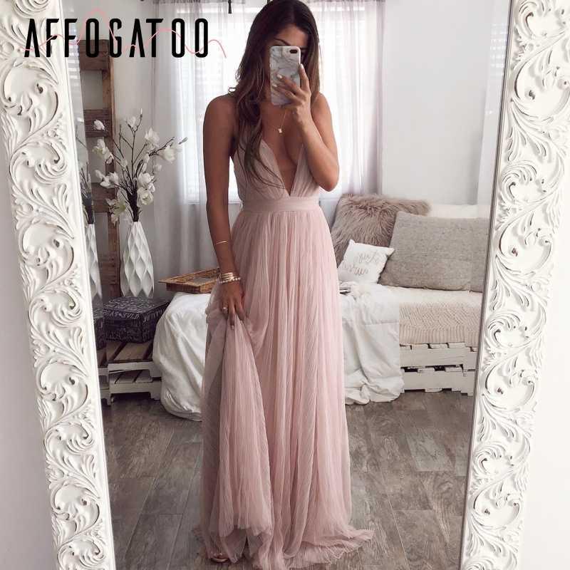 Afogafoo сексуальное летнее розовое платье с глубоким v-образным вырезом и открытой спиной, женское элегантное Кружевное Вечернее Макси-платье, праздничное длинное вечернее платье для женщин 2019