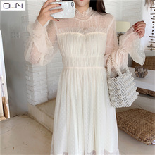 OLN Dress Autumn Korean Vestidos wholesale new Arrival  gentle wave point lace fairy dress