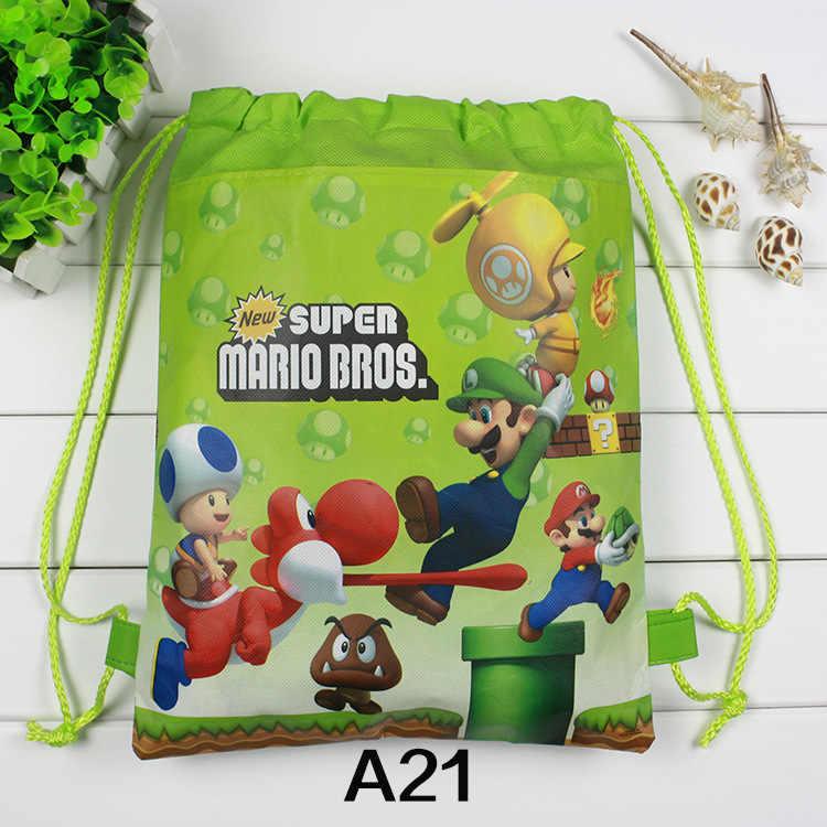 12 pçs pequeno super mario bros tema festa de aniversário presentes não tecido cordão goodie sacos crianças favorecem mochilas escolares natação