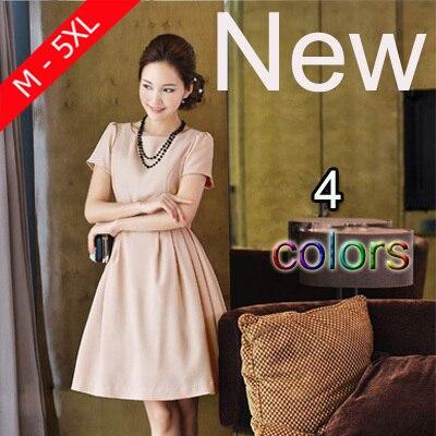 New Cute Women Summer O-neck Plus Size Bow Princess Desses 2015 Elegant Ladies Big Size 5XL Short sleeve Dress