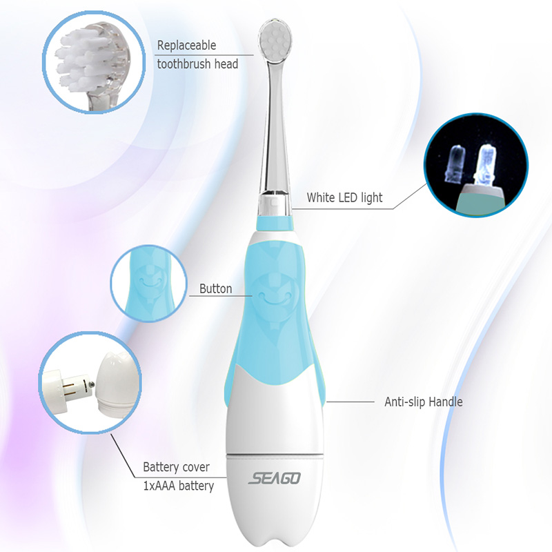 SEAGO Baby Electric Toothbrush 1-3 Ages Smart Tooth Brush Waterproof Soft Sonic Brush Tooth Toddler Electronic Toothbrush SG513