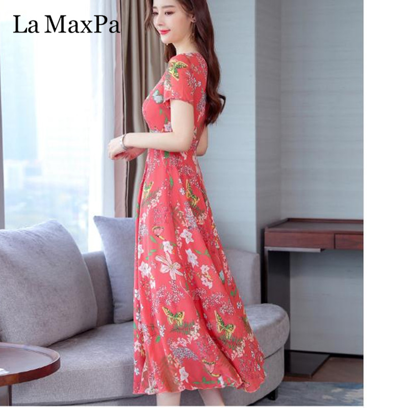 La MaxPa Dress Of The Big Sizes Fashion Print Chiffon Dress 2019 New Summer O Neck A-Line 3XL Plus Size Causal Dresses 4