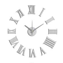 New Arrival DIY Modern Fashion Creative Wall Clock Paste EVA Silver Rome number Decoration Clock 60x60cm 10EM105S