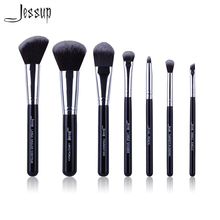 Jessup Brand Black 7pcs Professional Makeup brushes sets Beauty Tools Cosmetic Kit Eyeshadow Foundation blusher Make up brush