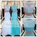 Impressionante two piece prom dress for menina frisada de cristal sheer pavimento comprimento mangas 2017 longo feito sob encomenda da sereia tulle prom vestidos