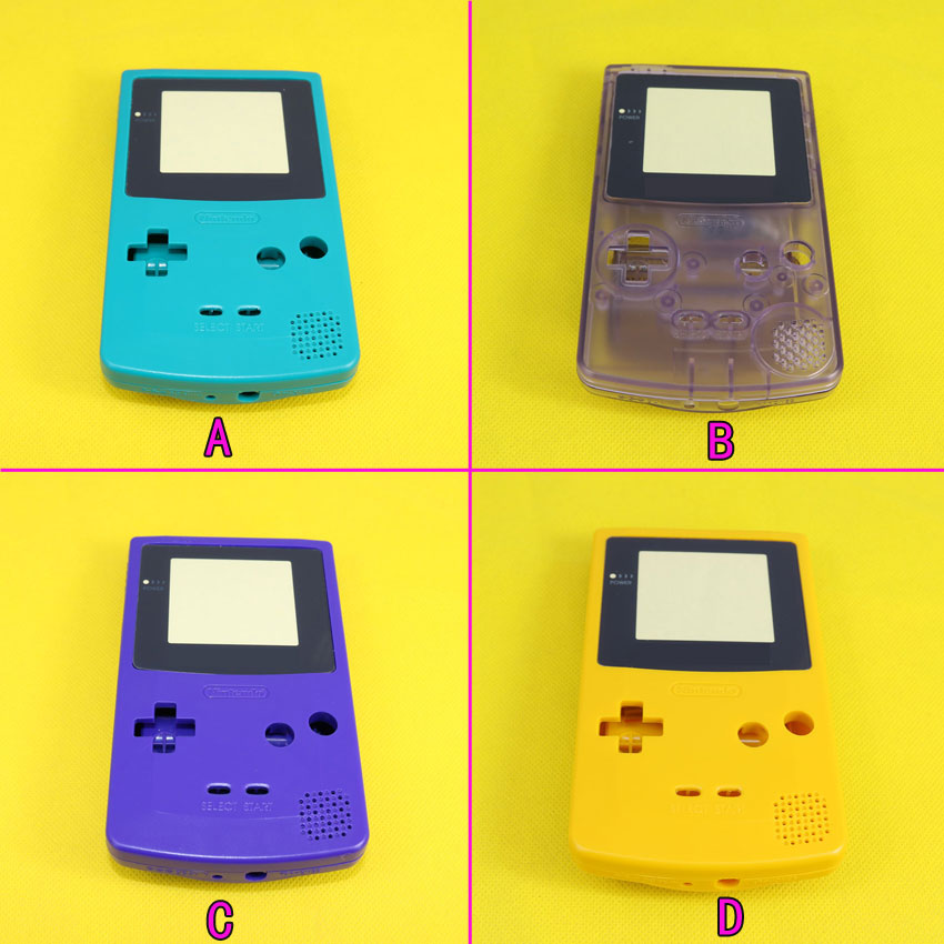 Full Housing Repairt Parts Cover For Nintendo GBC Case Pack For Gameboy Color Shell With Screw Buttons,4 Color