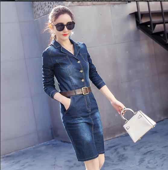 Boho работа OL дамы джинсовое платье для стройных женщин с длинным рукавом джинсовое платье Осень Винтаж карманы платье Vestidos женское JR102