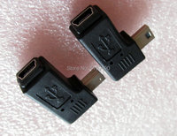 1pair Mini Usb Male Left Right Angle 90 Degrees To Mini Usb 5pin Female Adapter Connector