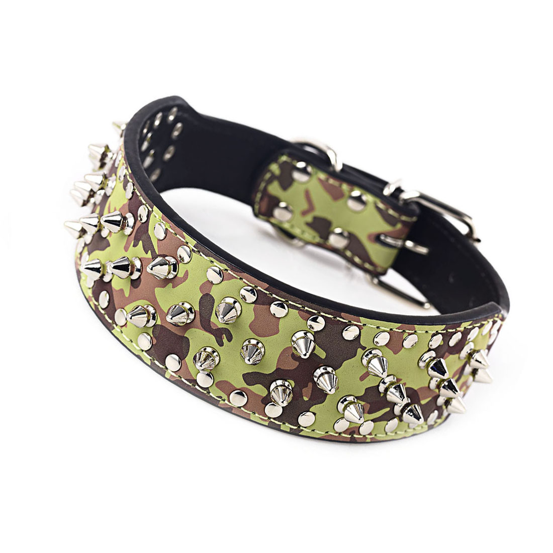 Super sweetheart store Adjustable Pet Collar Pu Leather Spike Punk Warhead Neck Strap Buckle Adjustable Safety Rivet