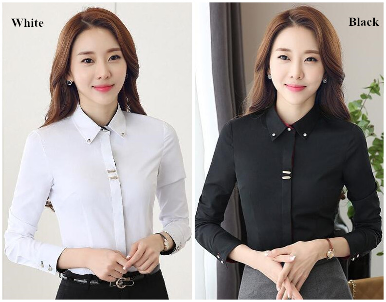 HTB1PAQlQpXXXXXwXpXXq6xXFXXXH - Long sleeve shirt black white slim cotton blouse office ladies
