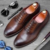 Лидер продаж мужская официальная одежда свадебные туфли из натуральной кожи с перфорацией броги оксфорды дышащие Для мужчин; круглый носок