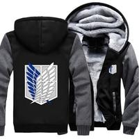 USA Size Attack On Titan Survey Legion Coat Zipper Hoodie Winter Fleece Unisex Thicken Jacket Clothing