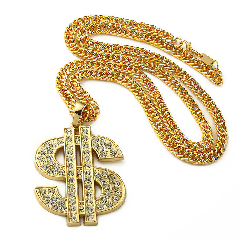 Golden Bling Big Dollar $ Sign necklaces Hip Hop Jewelry Gifts Chains Men Women Charm Crystal Money pendants Переносные часы