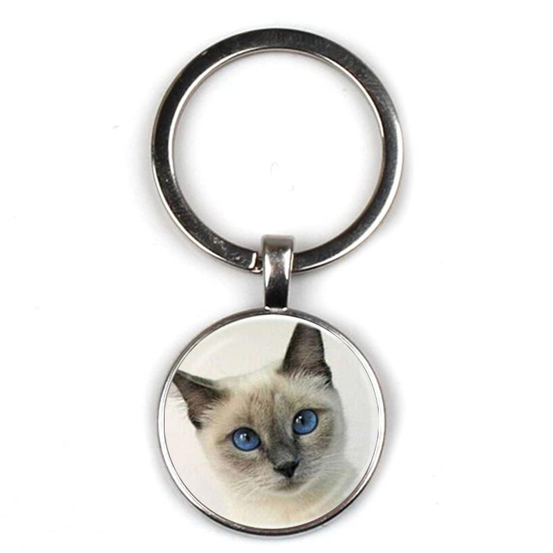 Cute Cartoon Gray Fairy Cat Pattern Keychain Angel Wing Pendant Kitten Keyring Jewelry Animal Glass Men Women Accessories Gifts