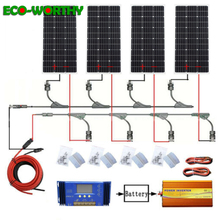 Ecoworthy 400 w 태양계: 4 pcs 100 w 모노 태양 광 패널 및 60a 컨트롤러 및 12 v 220 v 1500 w 인버터 충전 12 v 배터리