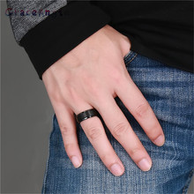 New Fashion Man Ring Top Quality Lovers Luxury Brands Rings Size 7 12 Wedding Black Solid