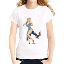 Girls casual T-Shirt Women Short Sleeve o-neck soft Breathable t shirt  Dragon Mother Daenerys Targaryen tshirt