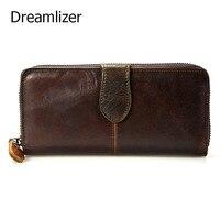 Dreamlizer Vintage Oil Real Leather Women Wallet Large Compartment Long Leather Female Clutch Purse Cellphone Bag