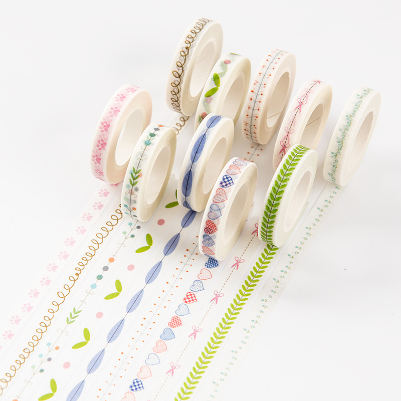 New 7MM Cute Plants Curves Love Slim Wide Japanese Masking Paper Washi Tape DIY Scrapbooking Sticker Label School Office Supply japanese style washi tape cute cat and flowers diy scrapbooking diary decor paper stickers planet masking tape kawaii stationery