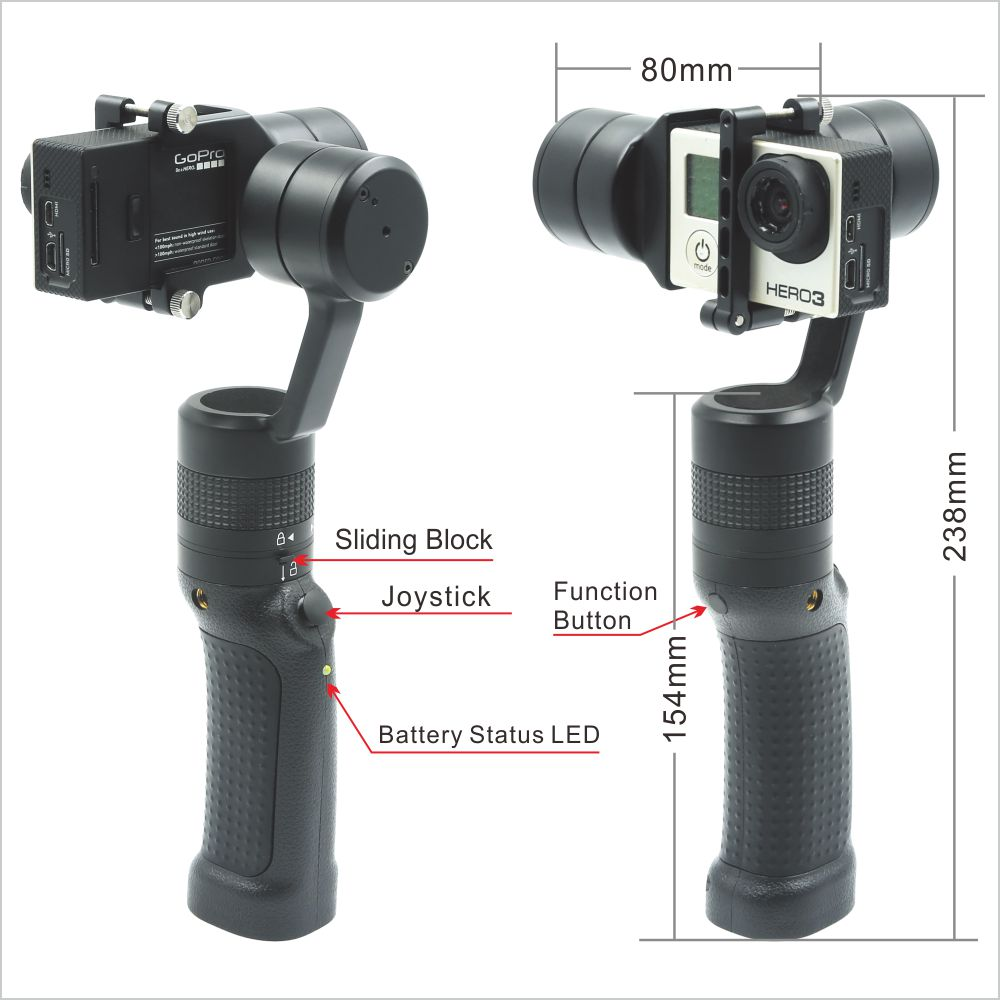 3-Axis Handheld Gimbal Stabilizer Multi Operation Modes for GoPro Hero 4 3+, 3, Yi 4K and Similarly Sized Action Camera