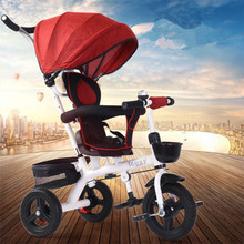 Children's Tricycle Bicycle Lightweight Steerable Baby Stroller 4 in 1 Multi-function Children's Cart Tricycle Ride On Toys Gift 2017 new arrival good price ride on bike also tricycle bicycle cart baby stroller children 1 3 5 years old children s bicycle