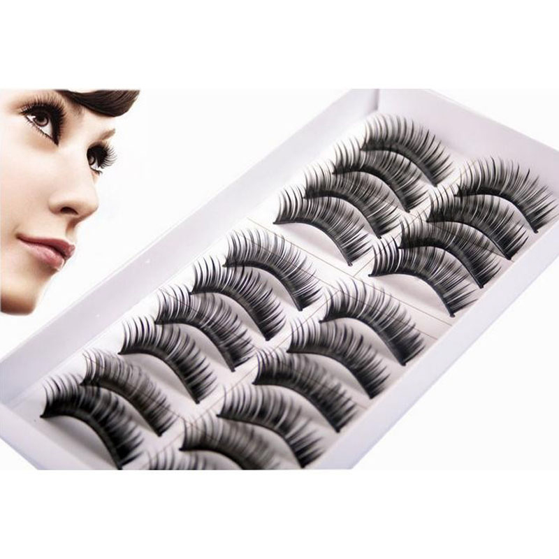 Thick Cotton 10 Pairs False Eyelashes Dense False Eyeflashes Professional Makeup Tips Bigeyes Long Black Fake Eye Lashes