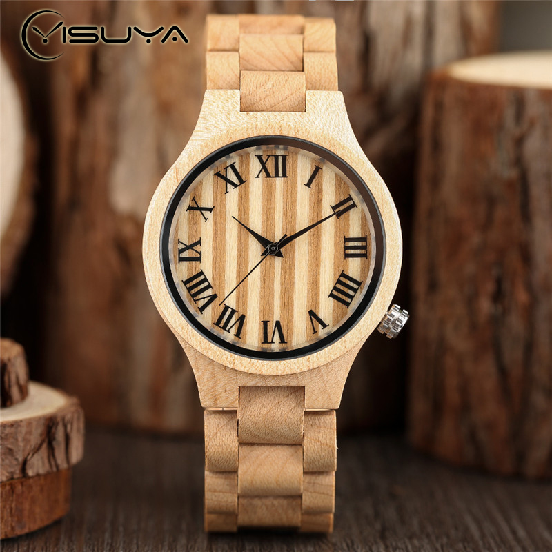 YISUYA Luxury Wood Watches Women Watch Vintage Roman Number Clock  Casual Quartz Wooden Wrist Watch Relogio Feminino Xmas Gifts yisuya luxury wooden watches for men vintage analog quartz handmade walnut zebra bamboo wood band wristwatch clock gifts reloj