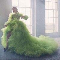 Новое поступление, красивые зеленые вечерние платья с низким вырезом, бальное платье с длинным рукавом, бальное платье, ярусные оборки, тюль