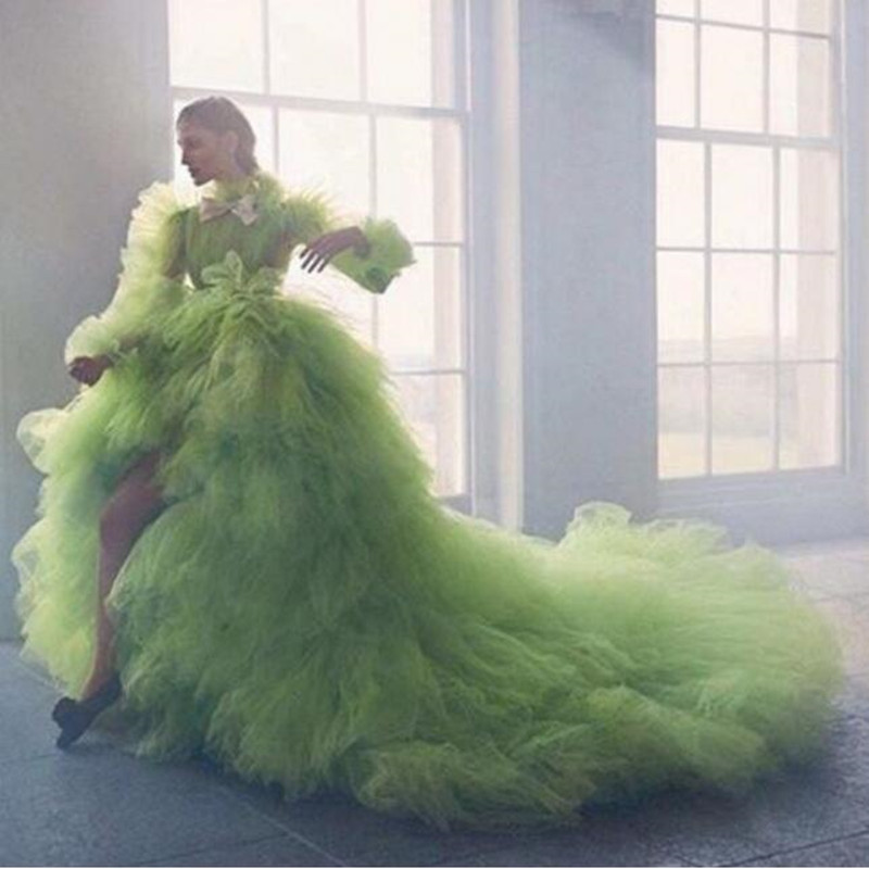 Nouveauté Assez Vert Salut Low Soirée robe de fête robe de Bal à manches longues robe de bal À Volants Volants Tulle tenue de fête Longo