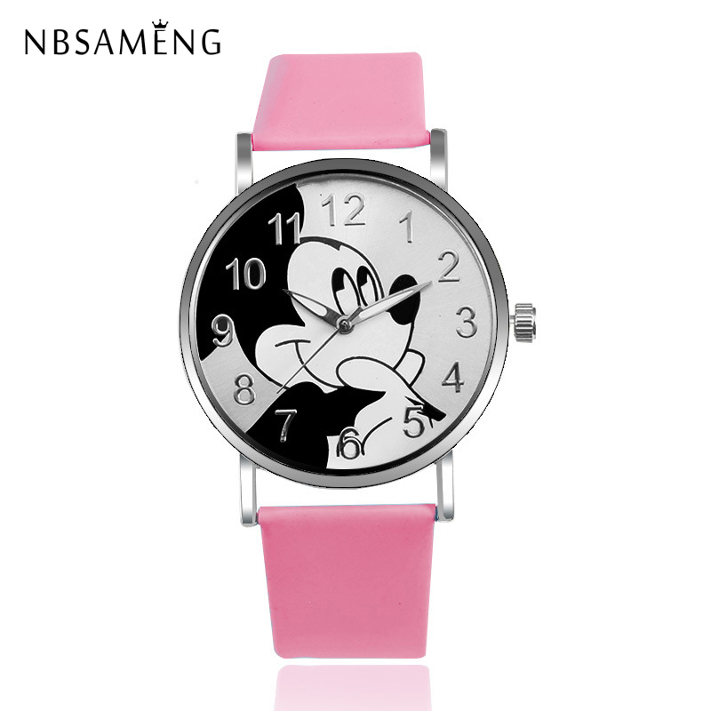 New Women Watch Mickey Mouse Pattern Fashion Quartz Watches Casual Cartoon Leather Clock Girls Kids Wristwatch Relogio Feminino 2015 new fashion boys girls silicone digital watch for kids mickey minnie cartoon watch for children christmas gift clock watch