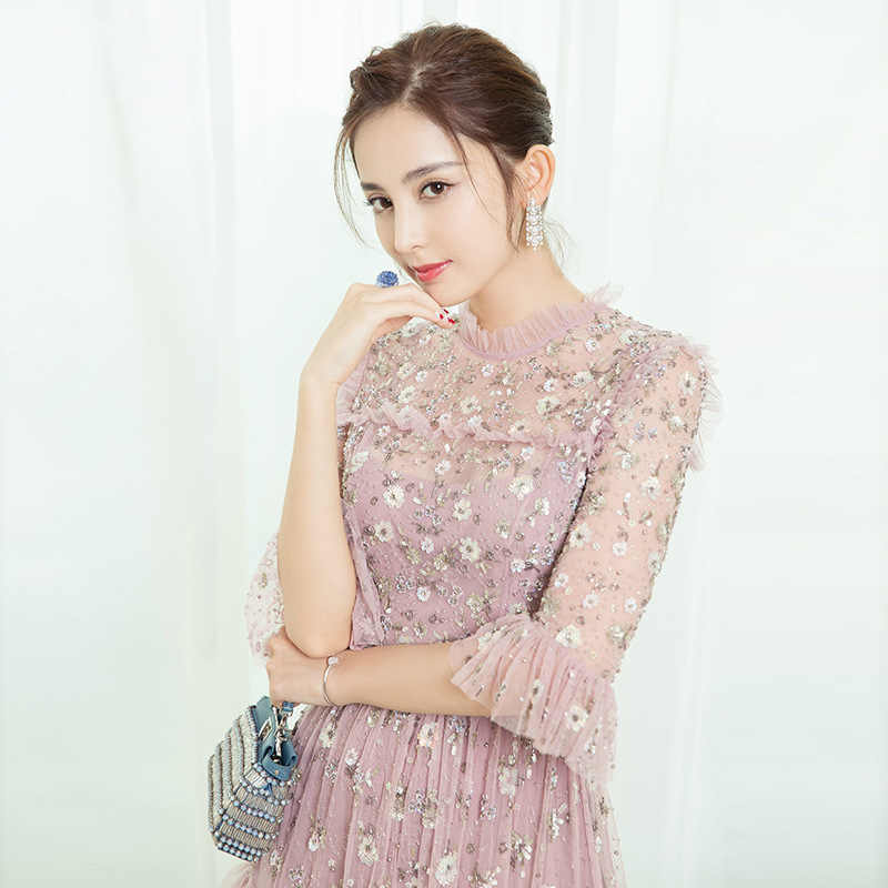 ... Autumn High Quality Runway Dresses Women 2018 Pink Flare Sleeve A-line Sequined  Mesh Mini ...