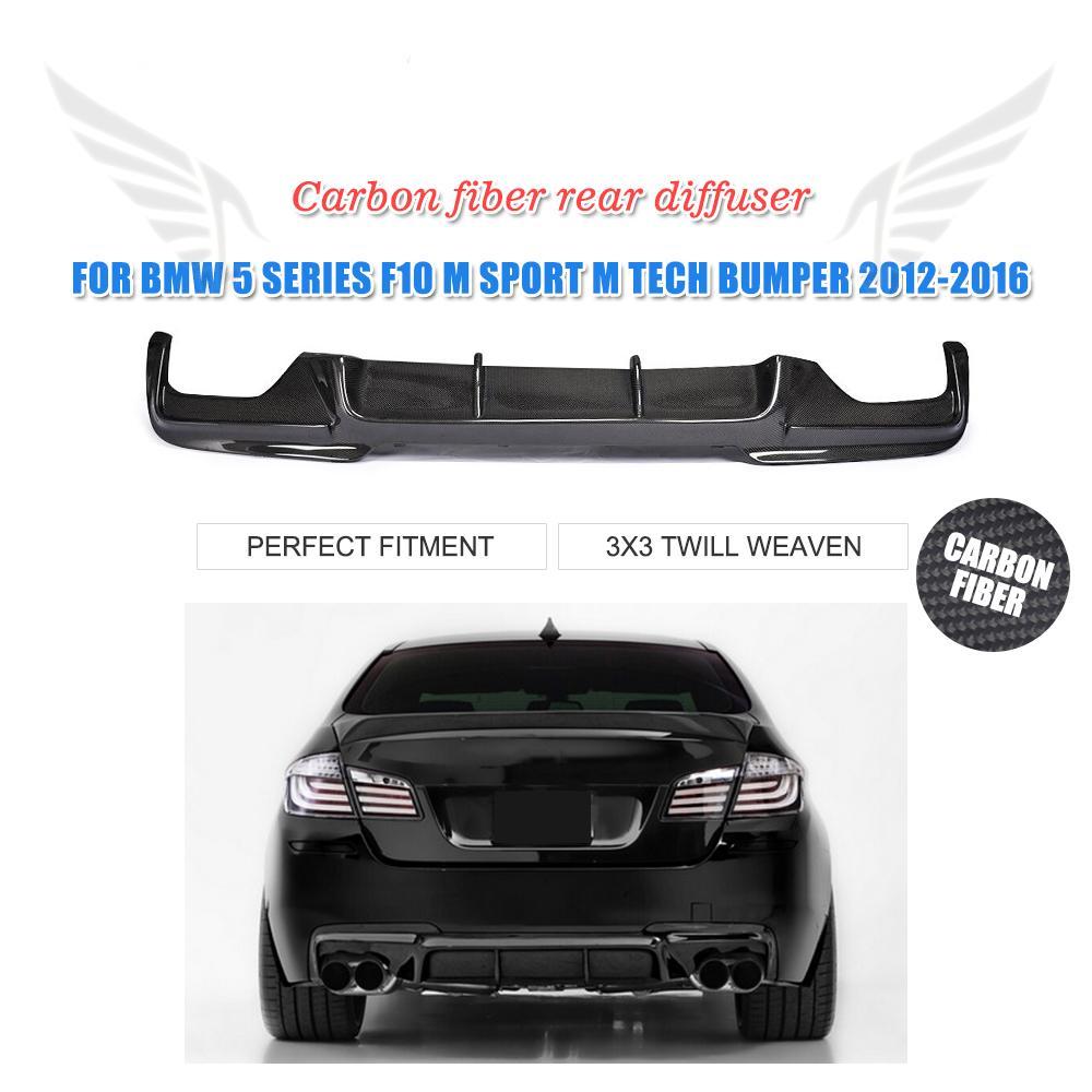 Rear Bumper Diffuser Lip For BMW 5 series F10 M-Sport Bumper 2012-2016 Carbon Fiber / FRP Black V Type Car Styling car styling carbon fiber front lip spoiler aron for bmw 5 series f10 m5 bumper only 2012 2016 car accessories