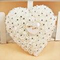 Favores Do casamento Anel Pillow Com Transprent Caixa de Pendurar Projeto Do Coração com Strass E Pérola decor Almofada Anel de Casamento Decoração