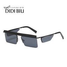 цена на Small Rectangle Rimless Sunglasses Flat Top Mirror Lens Steampunk Glasses Retro Black Gray Lens Super Star Eyewear Europe UN1006