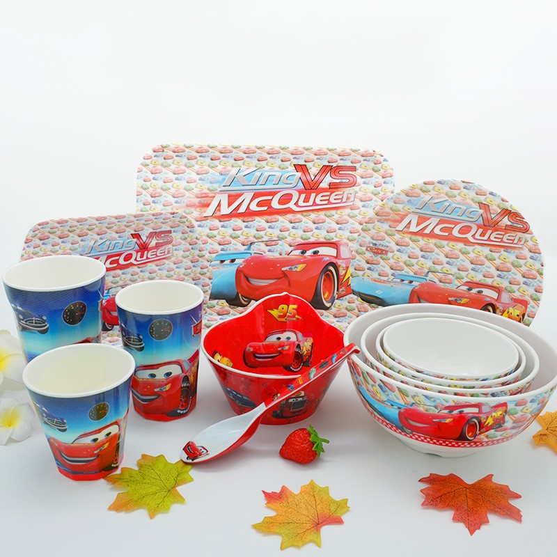 12pcs new Children's Tableware Set  cartoon lovely Cars into the baby Melamine Children's tableware cutlery set spoon fork bowl cars cars moving in stereo the best of the cars 2 lp