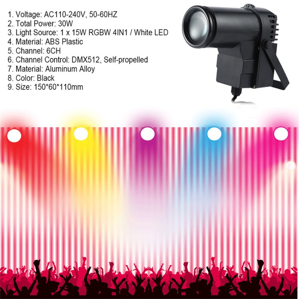 30W RGBW LED DMX512 Stage Light Pinpot Beam Spotlight 6CH DJ/DISCO/Party/KTV Led Stage Effect Light Home Entertainment lightme professional stage dj dmx stage light 192 channels dmx512 controller console dj light for disco ktv home party night