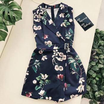 Amolapha Women Vintage Flora Printed Turn Down Collar Playsuits Buckle Sashes Waist Short Jumpsuit 1