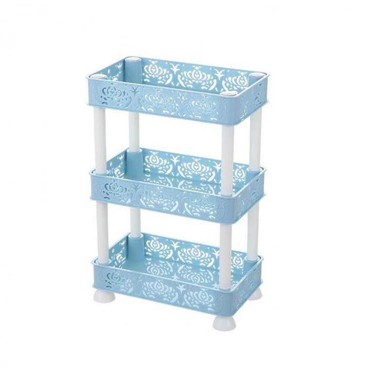 European carved hollow square shelf Storage Shelf Holder Plastic Rack Freestanding Durable Kitchen Bathroom Shelf Organiser