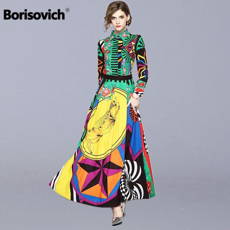 Borisovich Runway Maxi Dress New 2018 Autumn Fashion Vintage Print Turn-down Collar Elegant Slim Women Party Long Dresses M659