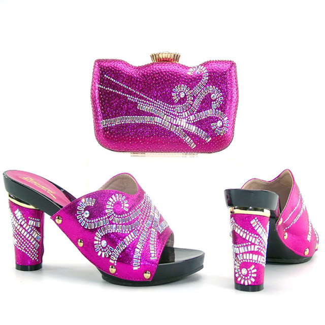 515eeaab0bc6 2017 african wedding party lady nice shoes bag fushia pink shoes and bag  matching lace dress BCSB0013 shoes and bag set
