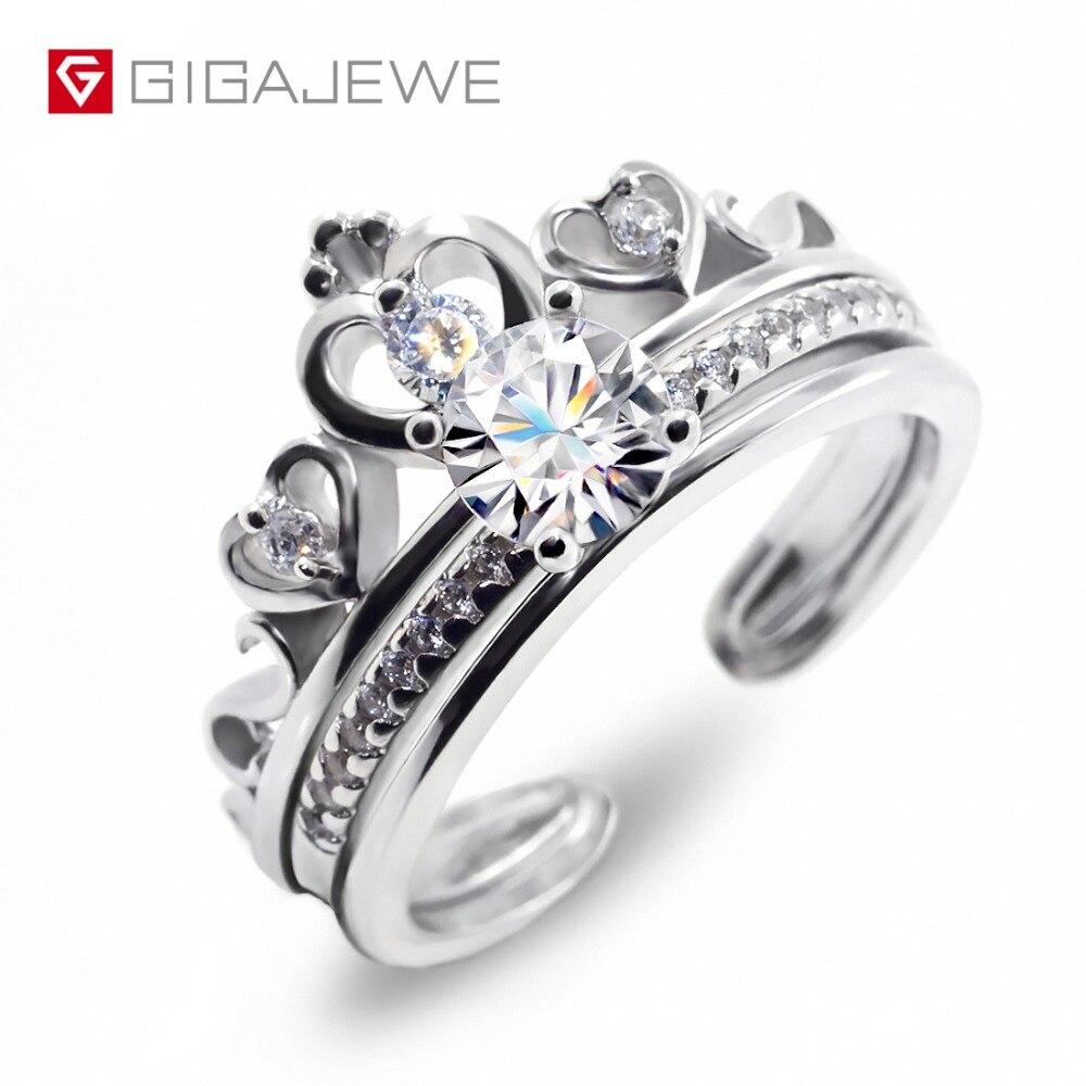 GIGAJEWE Moissanite Ring 0.6ct 5,5mm Runde Cut F Farbe 925 Silber Gold Multi schicht Überzogene Mode Liebe Token freundin Geschenk-in Ringe aus Schmuck und Accessoires bei  Gruppe 1