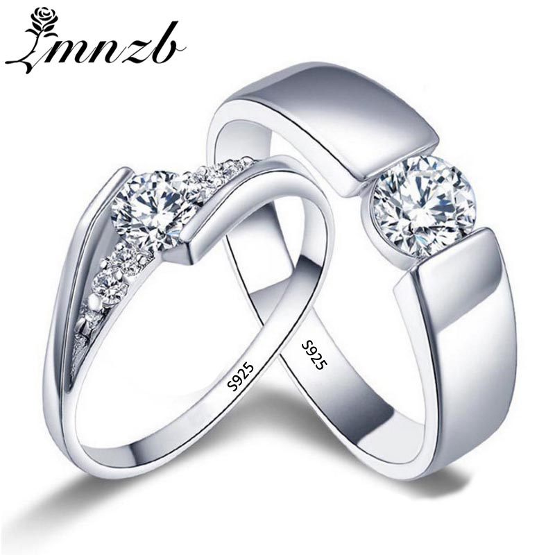 LMNZB Romantic Wedding Rings For Lover Original 925 Sterling Silver Couple Rings For Engagement Party Jewelry Wedding Bands R1-3