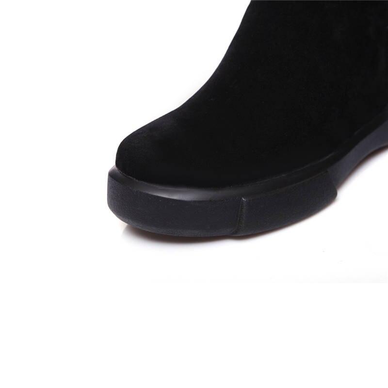 Sur 43 Noir 2018 Mi Femme 34 Taille army Glissent Chaussures Mode mollet Morazora Rond Green Doux Neige Grande Confortable Plat apricot Couleur Bottes Solide De Bout La gqIPdxwd