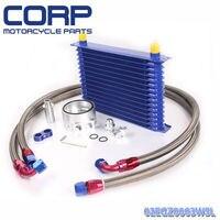 Universal 15 Row JDM Engine Oil Cooler Kit + Sandwich Plate + AN10 Oil Lines Kit